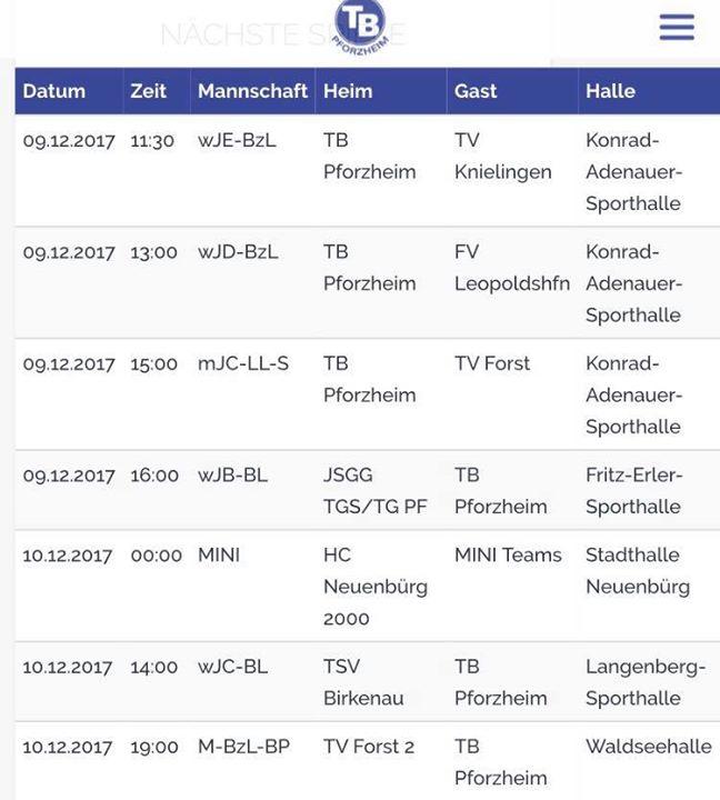 Der Spielplan zum Wochenende: wE – wD und mC spielten jeweils in der Konrad…